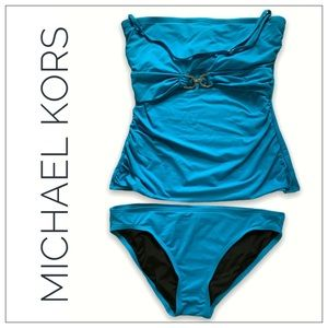 Michael Kors Blue Tankini With Silver Link Accent